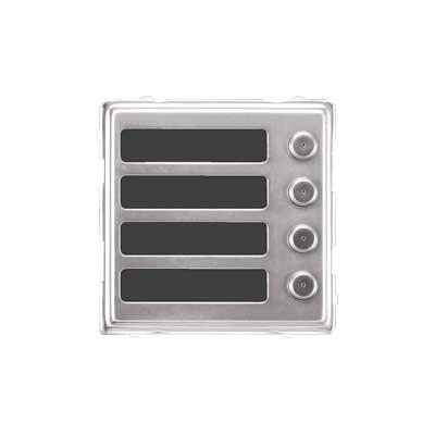 114-14 Modulo Sinthesi S2 in alluminio anodizzato color acciaio lucido con 4 pulsanti di chiamata